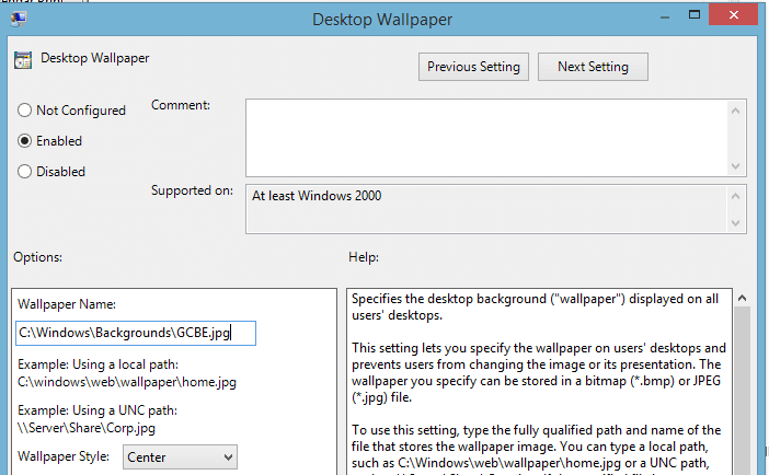 Setting the Desktop Wallpaper Background with Group Policy